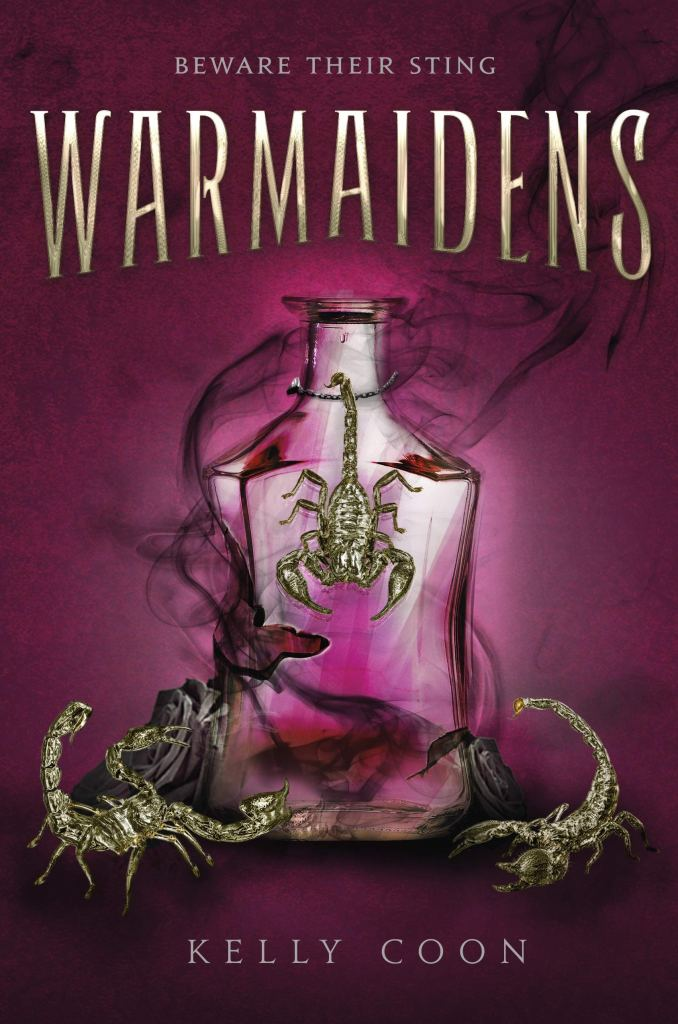 cover of Warmaidens. Deep magenta with a vial of smoky liquid and scorpions.