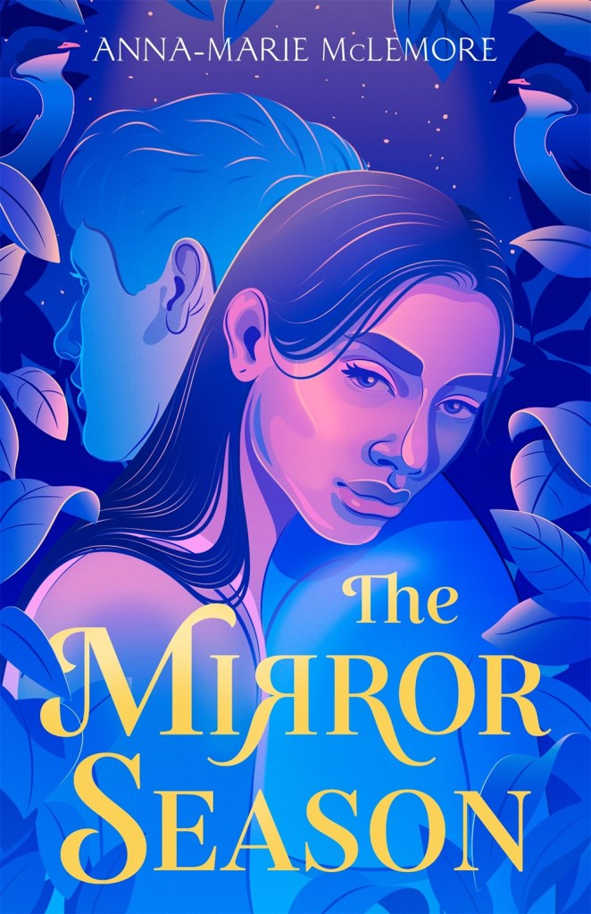 cover of the Mirror Season. Blue and purple illustration of teen girl and boy leaning against each other with the title in yellow.