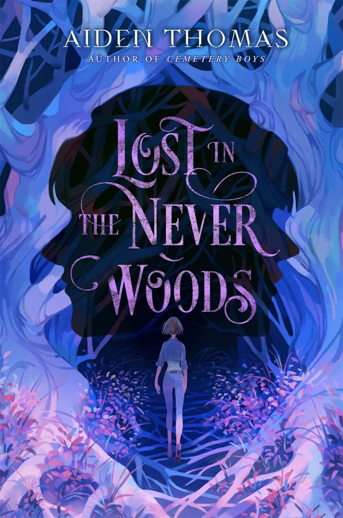 cover of Lost in the Never Woods. Purple illustration of girl walking into shadowy woods.